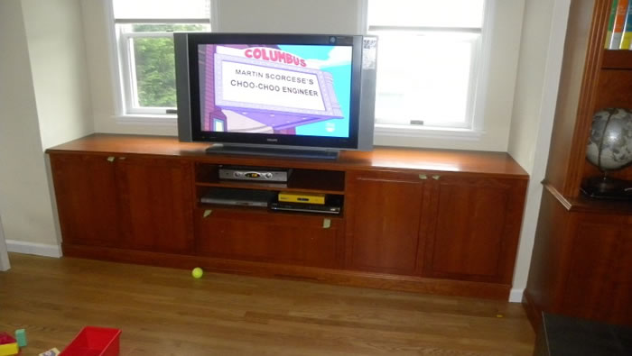 Cherry Wood Built In Entertainment Center